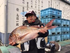 久留米の居川さん、良型真鯛GET