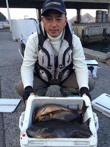 福岡の林田さん、40オーバークロ、イサキクーラー満タン
