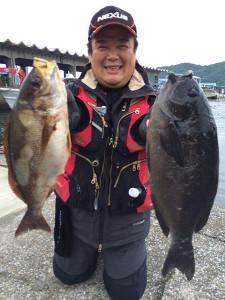 北九州の吉田さん、47cmクロ、43cmイサキGET