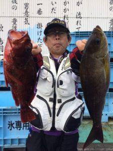 久留米の居川さん、良型アラカブ、イサキGET